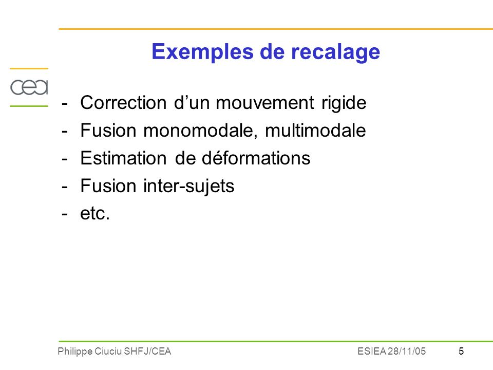 5Philippe Ciuciu SHFJ/CEAESIEA 28/11/05 Exemples de recalage -Correction dun mouvement rigide -Fusion monomodale, multimodale -Estimation de déformations -Fusion inter-sujets -etc.