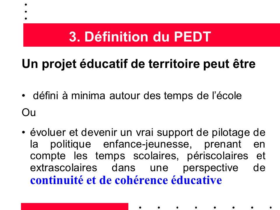 3. Définition du PEDT Un projet éducatif de territoire peut être défini à minima autour des temps de lécole Ou évoluer et devenir un vrai support de p