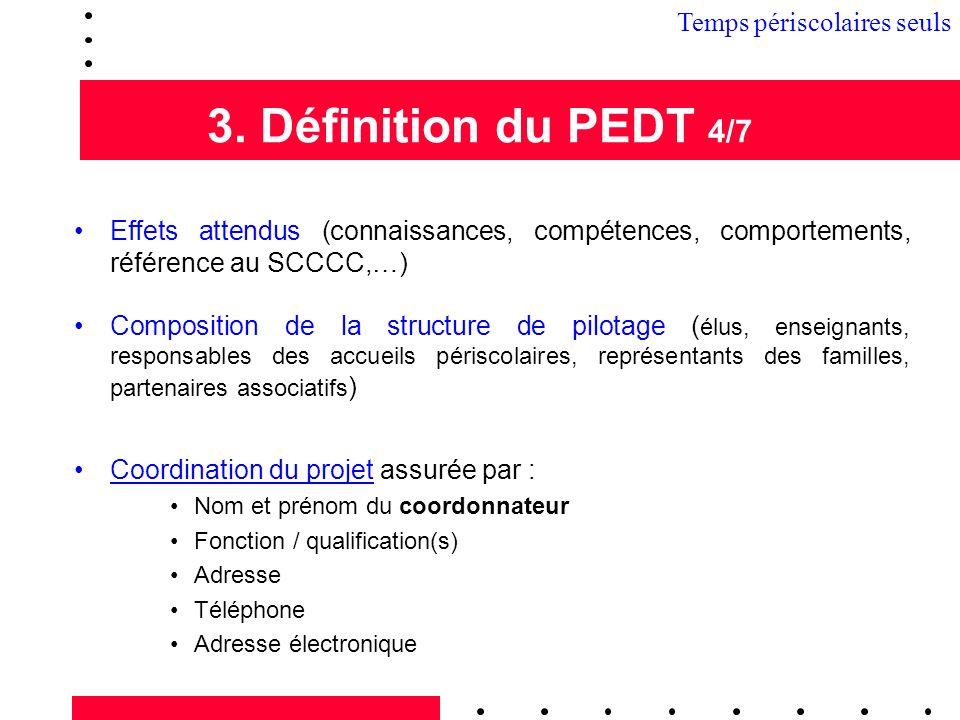 3. Définition du PEDT 4/7 Effets attendus (connaissances, compétences, comportements, référence au SCCCC,…) Composition de la structure de pilotage (