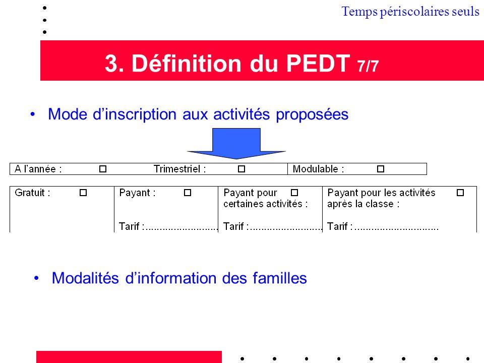 3. Définition du PEDT 7/7 Mode dinscription aux activités proposées Modalités dinformation des familles 3.1 Temps périscolaires seuls
