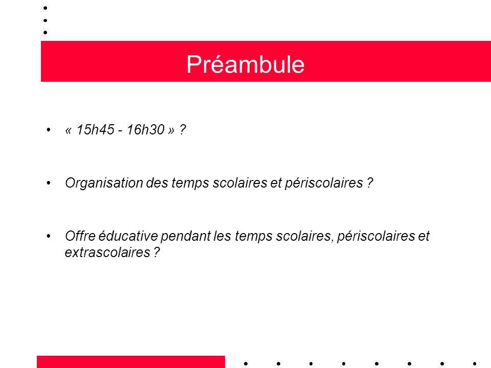 Préambule « 15h45 - 16h30 » ? Organisation des temps scolaires et périscolaires ? Offre éducative pendant les temps scolaires, périscolaires et extras