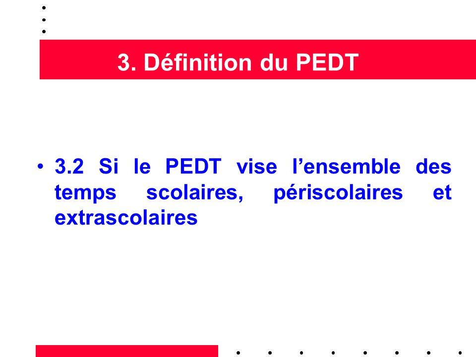 3. Définition du PEDT 3.2 Si le PEDT vise lensemble des temps scolaires, périscolaires et extrascolaires