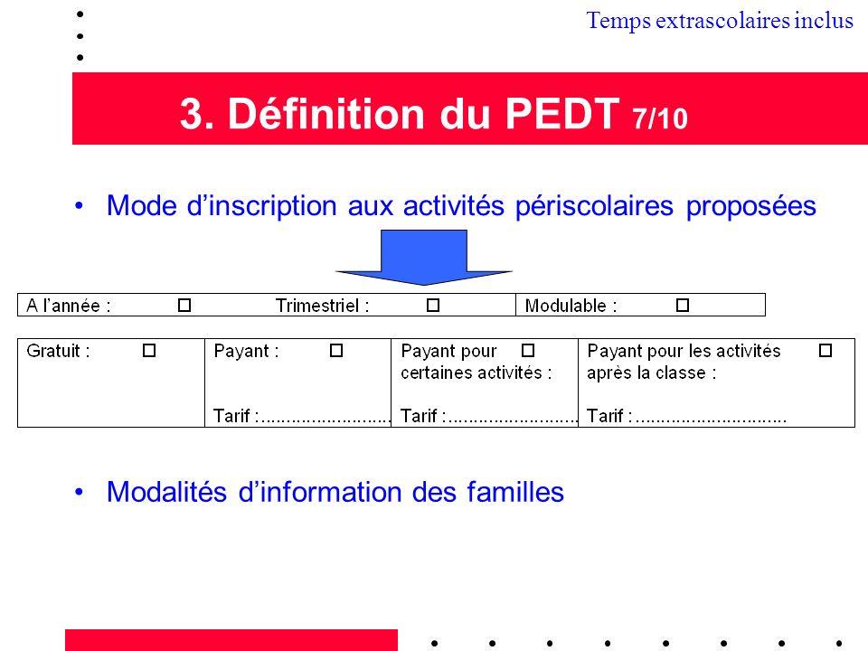 3. Définition du PEDT 7/10 Mode dinscription aux activités périscolaires proposées Modalités dinformation des familles 3.2 Temps extrascolaires inclus