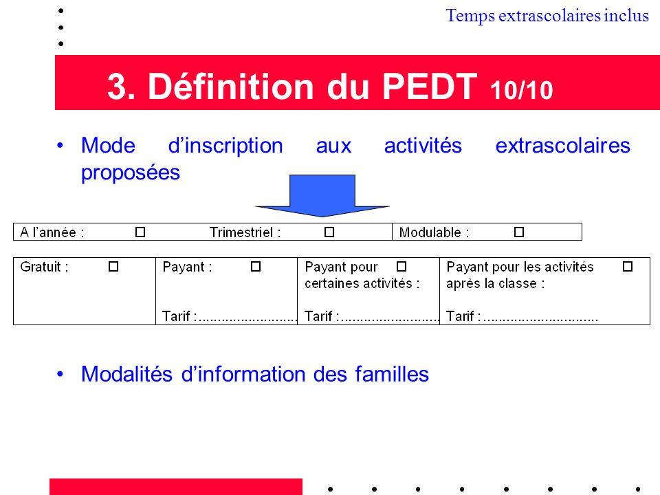 3. Définition du PEDT 10/10 Mode dinscription aux activités extrascolaires proposées Modalités dinformation des familles Temps extrascolaires inclus