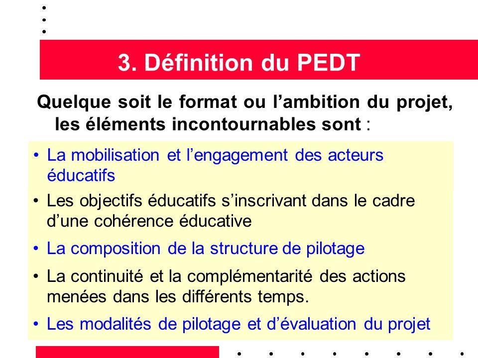 3. Définition du PEDT Quelque soit le format ou lambition du projet, les éléments incontournables sont : La mobilisation et lengagement des acteurs éd