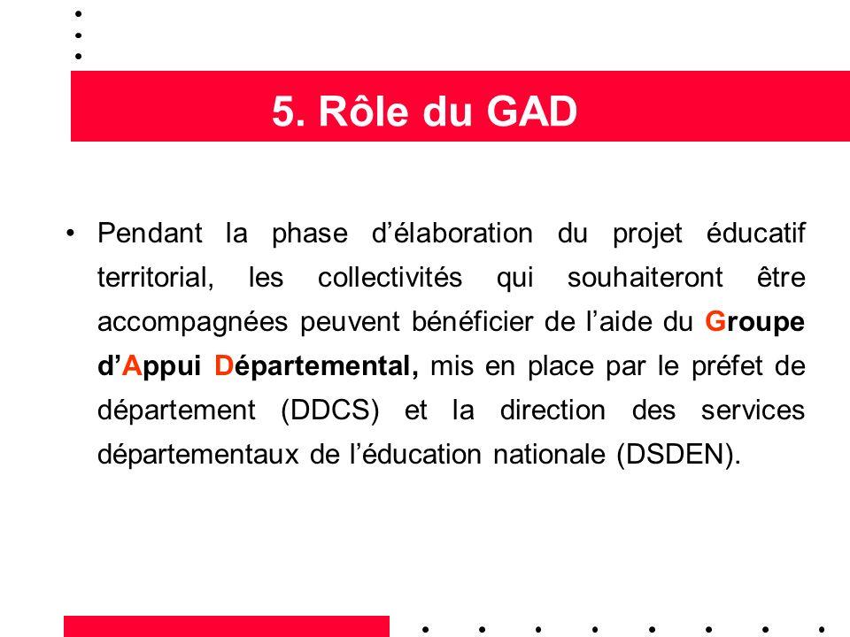 5. Rôle du GAD Pendant la phase délaboration du projet éducatif territorial, les collectivités qui souhaiteront être accompagnées peuvent bénéficier d