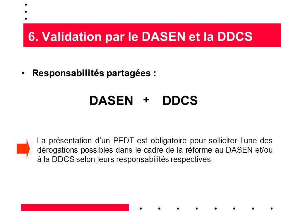 6. Validation par le DASEN et la DDCS Responsabilités partagées : DASENDDCS + La présentation dun PEDT est obligatoire pour solliciter lune des déroga