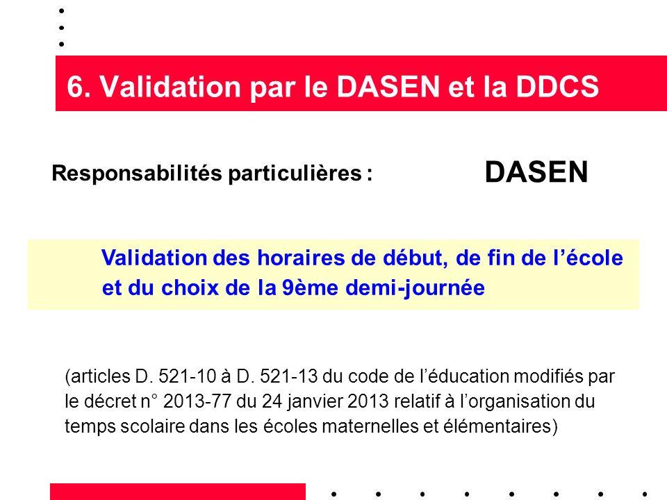 6. Validation par le DASEN et la DDCS Responsabilités particulières : Validation des horaires de début, de fin de lécole et du choix de la 9ème demi-j