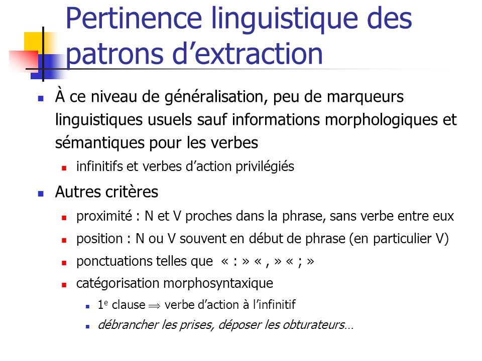 Pertinence linguistique des patrons dextraction À ce niveau de généralisation, peu de marqueurs linguistiques usuels sauf informations morphologiques