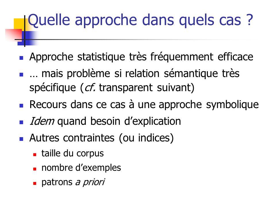 Quelle approche dans quels cas ? Approche statistique très fréquemment efficace … mais problème si relation sémantique très spécifique (cf. transparen