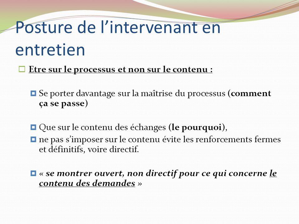 Posture de lintervenant en entretien Etre sur le processus et non sur le contenu : Se porter davantage sur la maîtrise du processus (comment ça se pas