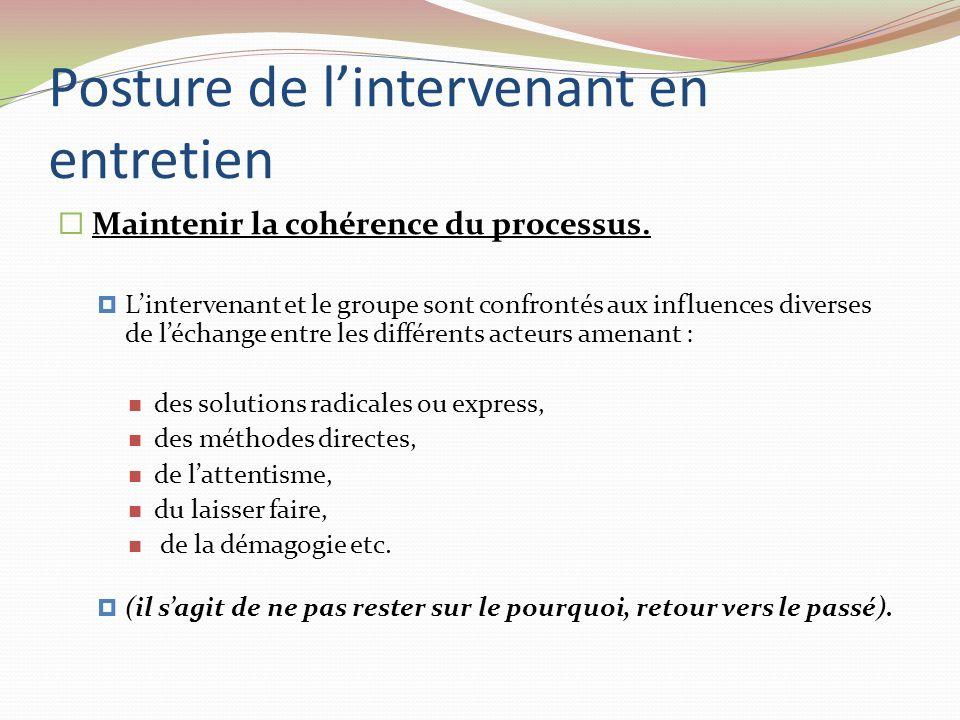 Posture de lintervenant en entretien Maintenir la cohérence du processus. Lintervenant et le groupe sont confrontés aux influences diverses de léchang