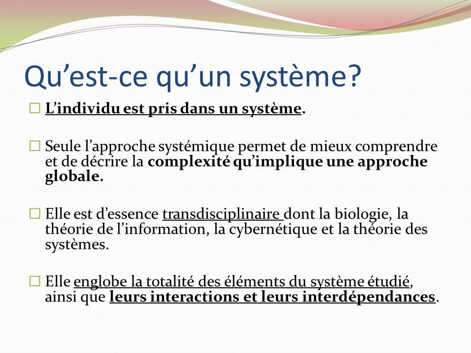 Quest-ce quun système? Lindividu est pris dans un système. Seule lapproche systémique permet de mieux comprendre et de décrire la complexité quimpliqu