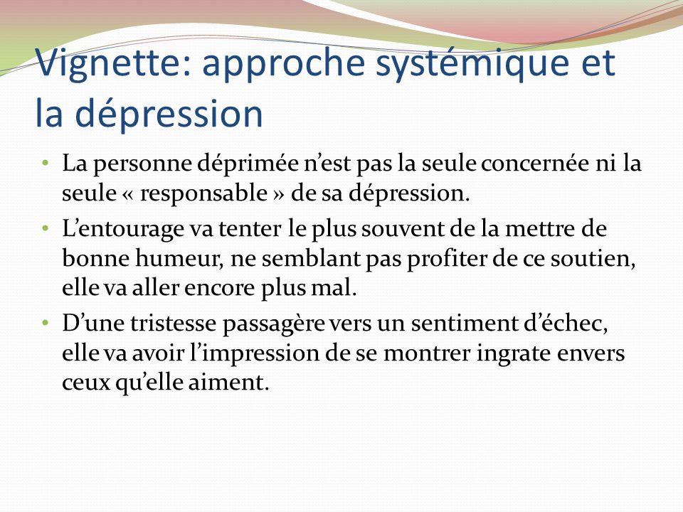 Vignette: approche systémique et la dépression La personne déprimée nest pas la seule concernée ni la seule « responsable » de sa dépression. Lentoura