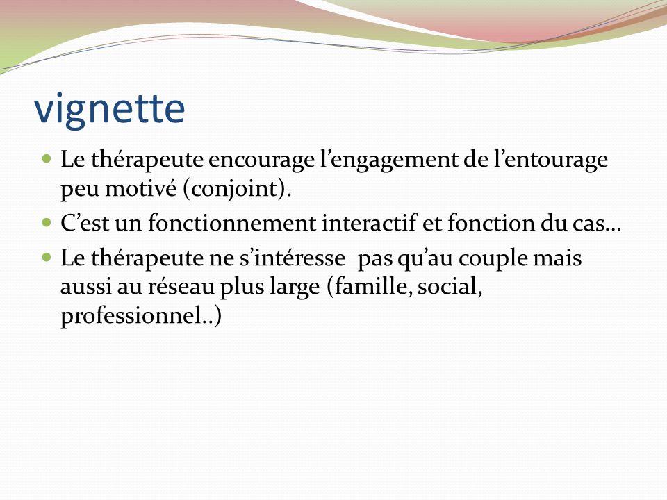 vignette Le thérapeute encourage lengagement de lentourage peu motivé (conjoint). Cest un fonctionnement interactif et fonction du cas… Le thérapeute