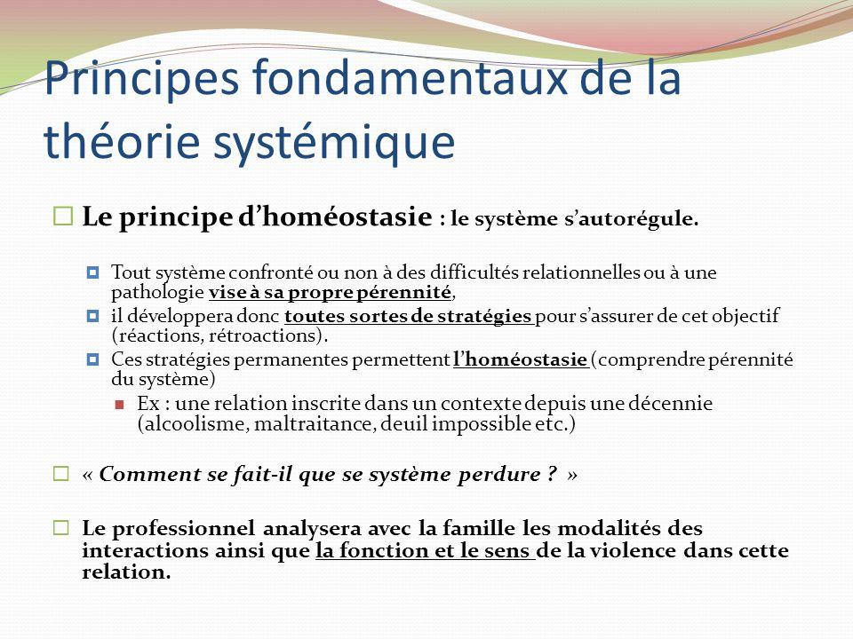 Principes fondamentaux de la théorie systémique Le principe dhoméostasie : le système sautorégule. Tout système confronté ou non à des difficultés rel