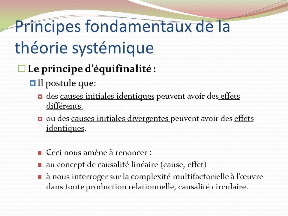 Principes fondamentaux de la théorie systémique Le principe déquifinalité : Il postule que: des causes initiales identiques peuvent avoir des effets d