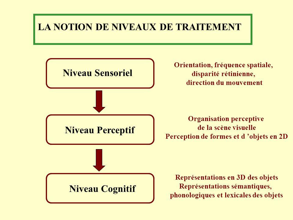 LA NOTION DE NIVEAUX DE TRAITEMENT Niveau Sensoriel Niveau PerceptifNiveau Cognitif Orientation, fréquence spatiale, disparité rétinienne, direction d
