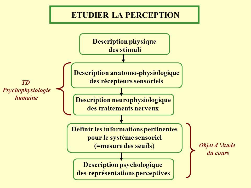 ETUDIER LA PERCEPTION Description physique des stimuli Description anatomo-physiologique des récepteurs sensoriels Description neurophysiologique des