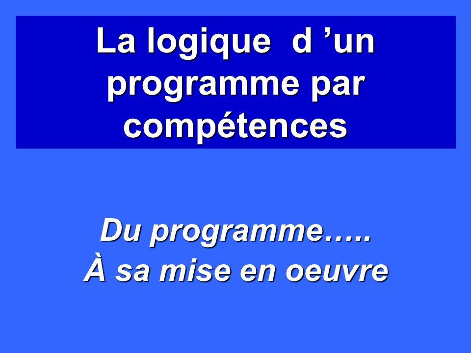 La logique d un programme par compétences Du programme….. À sa mise en oeuvre