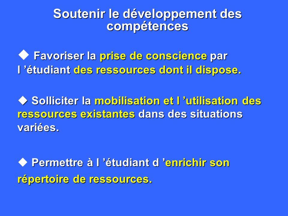 5. Quelques implications d un programme par compétences è Soutenir le développement des compétences è Mettre l évaluation au service de l apprentissag
