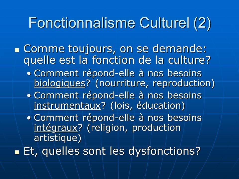 Fonctionnalisme Culturel (3) Cette approche a ainsi la tendance de séparer la culture de ceux qui la vivent, la produisent et la créent.