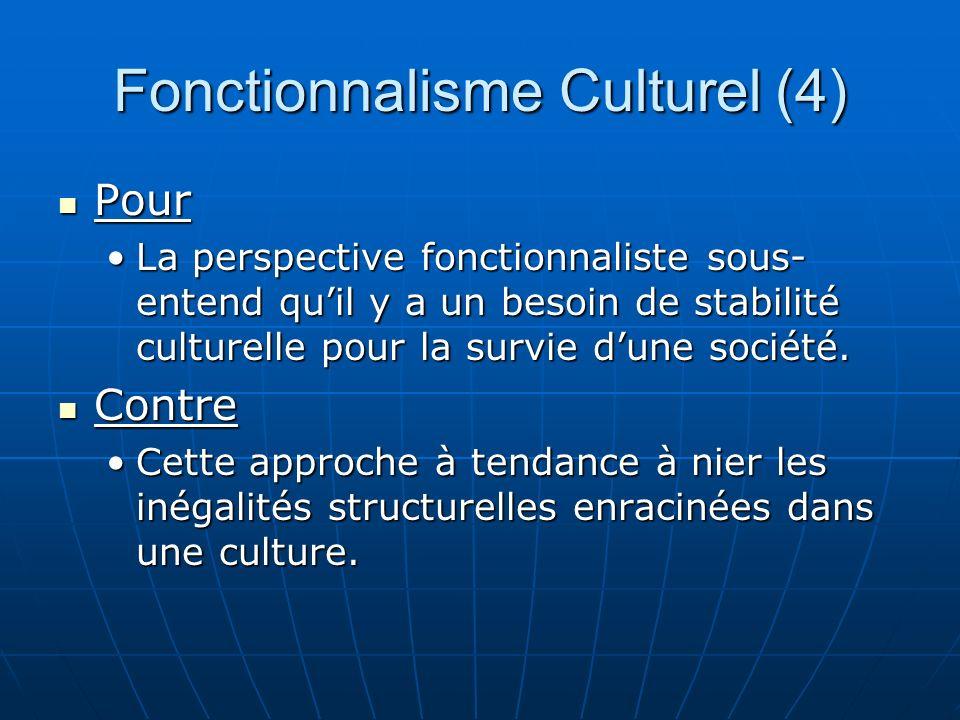 Fonctionnalisme Culturel (4) Pour Pour La perspective fonctionnaliste sous- entend quil y a un besoin de stabilité culturelle pour la survie dune société.La perspective fonctionnaliste sous- entend quil y a un besoin de stabilité culturelle pour la survie dune société.