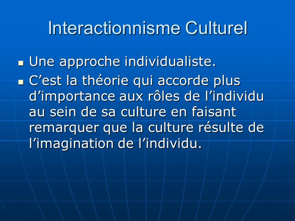 Interactionnisme Culturel (2) Les individus ne vivent pas leur culture sans réflexion.