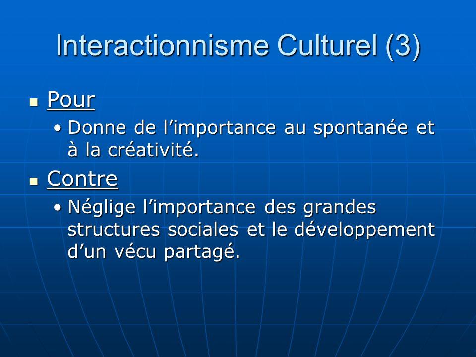 Interactionnisme Culturel (3) Pour Pour Donne de limportance au spontanée et à la créativité.Donne de limportance au spontanée et à la créativité.