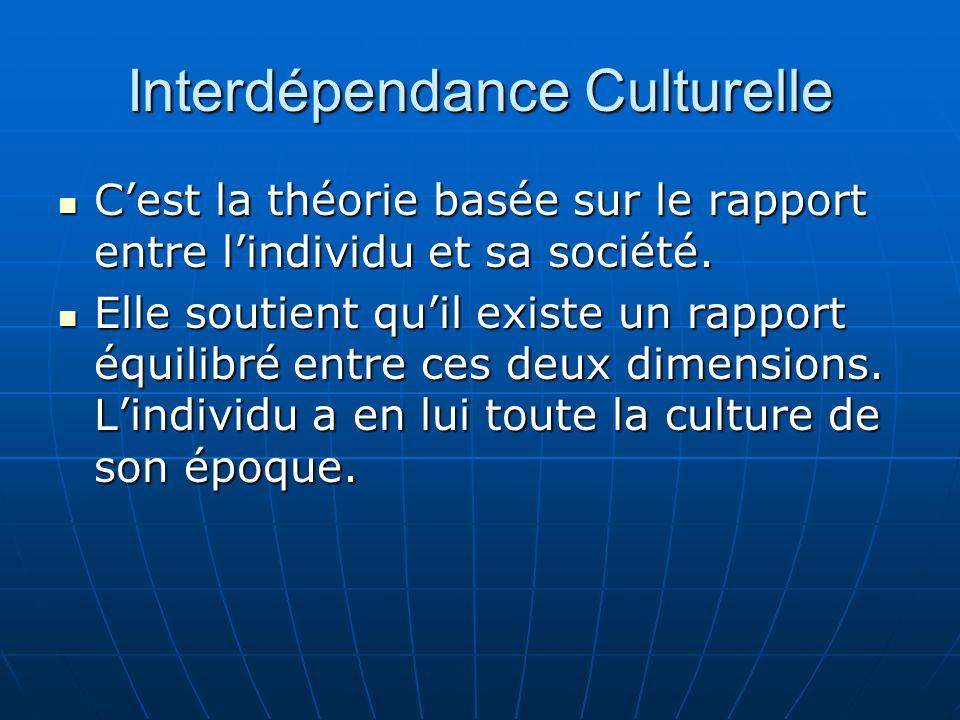 Interdépendance Culturelle Cest la théorie basée sur le rapport entre lindividu et sa société.