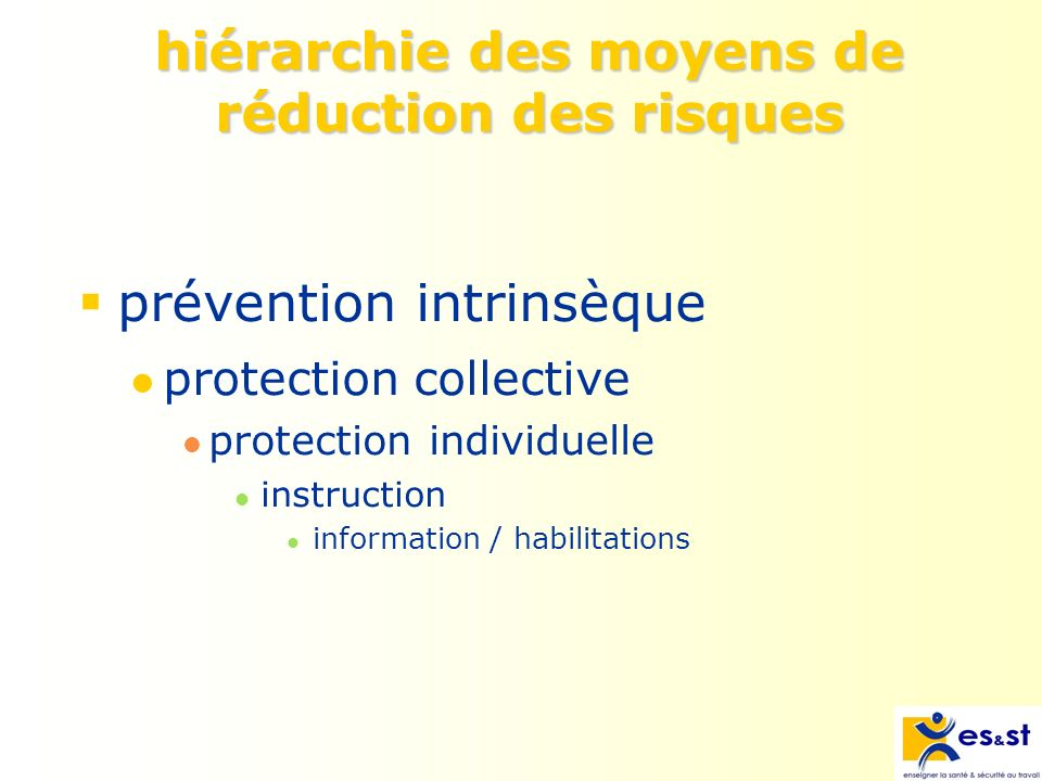 hiérarchie des moyens de réduction des risques prévention intrinsèque protection collective protection individuelle instruction information / habilita