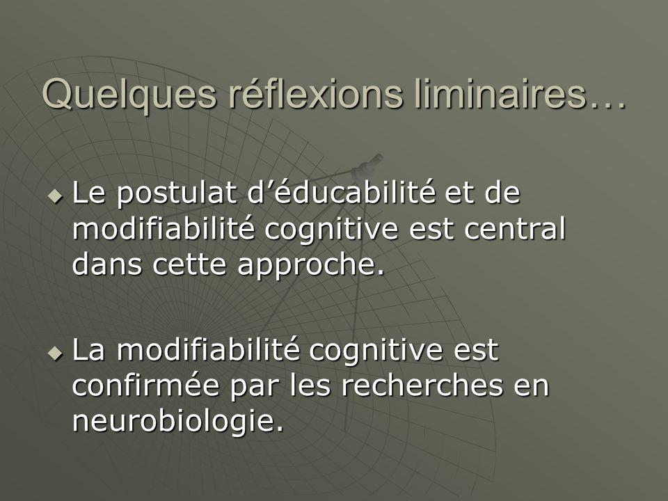 Quelques réflexions liminaires… Le postulat déducabilité et de modifiabilité cognitive est central dans cette approche.