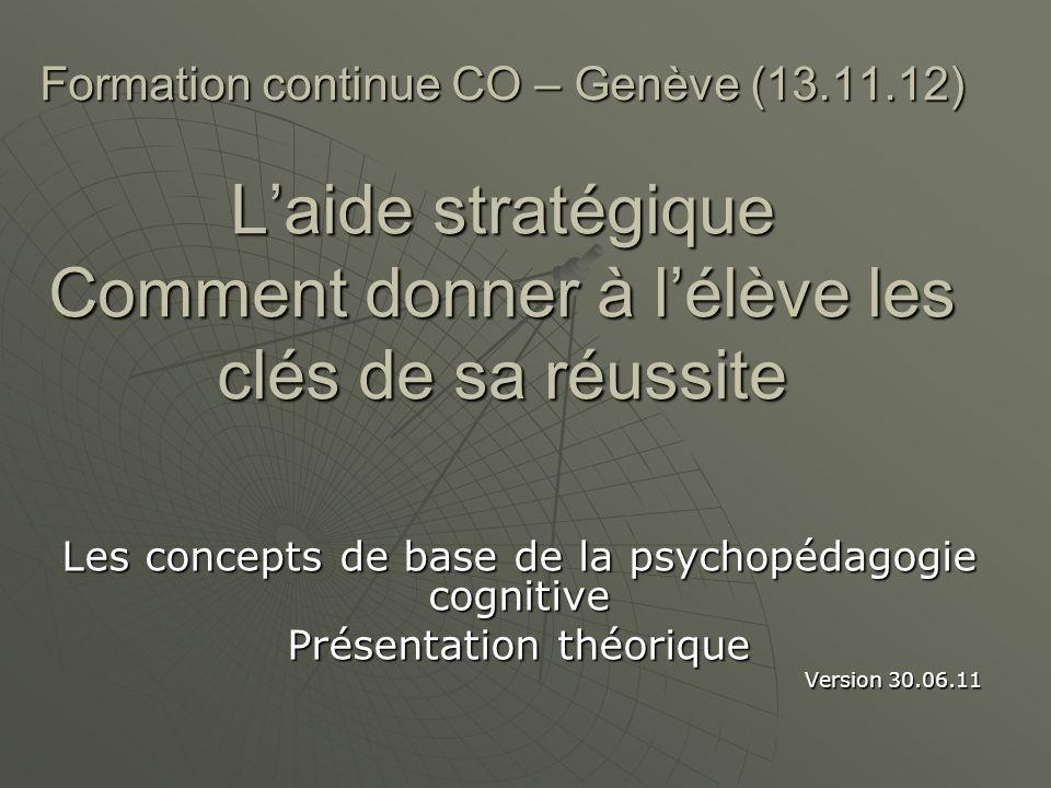 Plan 1.Enjeux et postulats de la psychopédagogie cognitive 1.