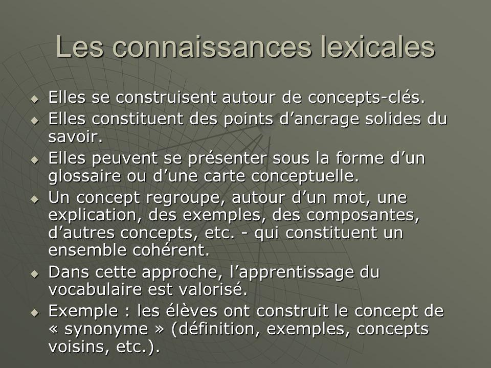 Les connaissances lexicales Elles se construisent autour de concepts-clés.