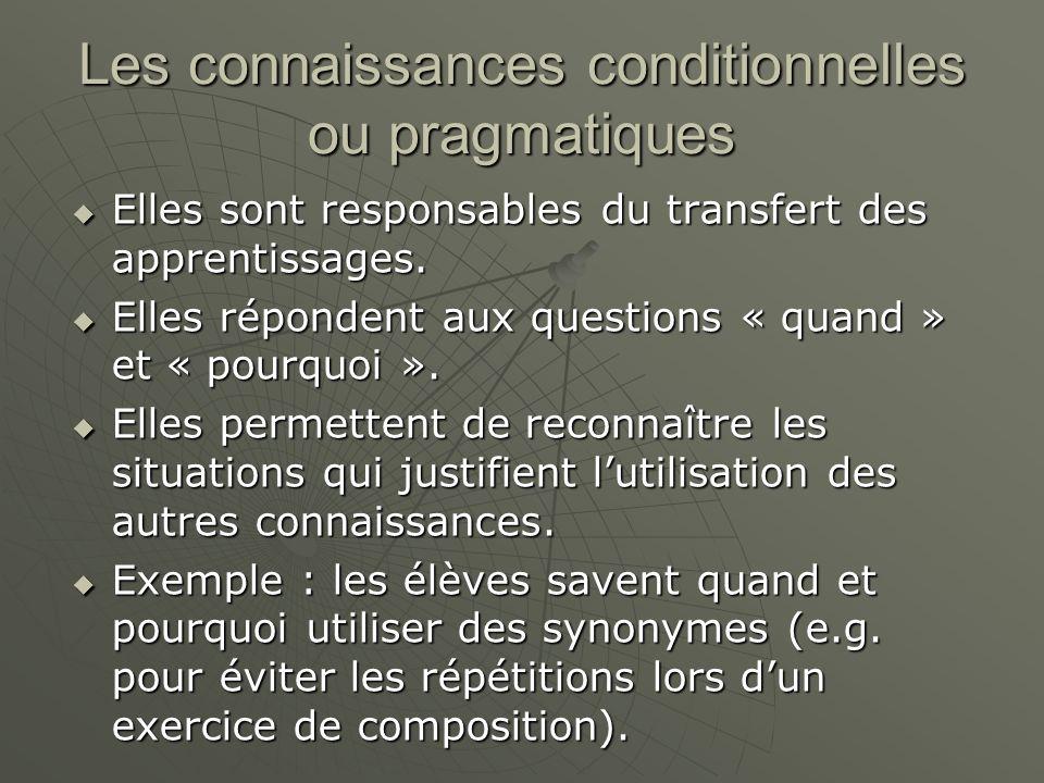 Les connaissances conditionnelles ou pragmatiques Elles sont responsables du transfert des apprentissages.