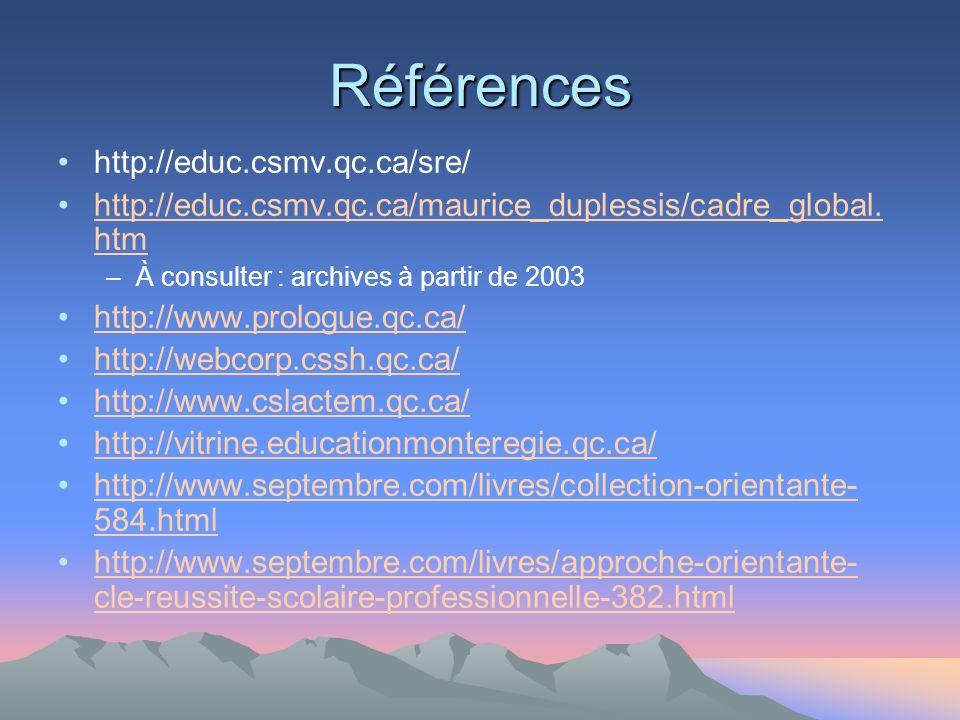Références http://educ.csmv.qc.ca/sre/ http://educ.csmv.qc.ca/maurice_duplessis/cadre_global.