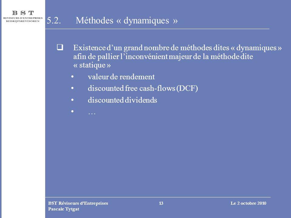 Le 2 octobre 2010BST Réviseurs dEntreprises Pascale Tytgat 13 5.2. Méthodes « dynamiques » Existence dun grand nombre de méthodes dites « dynamiques »