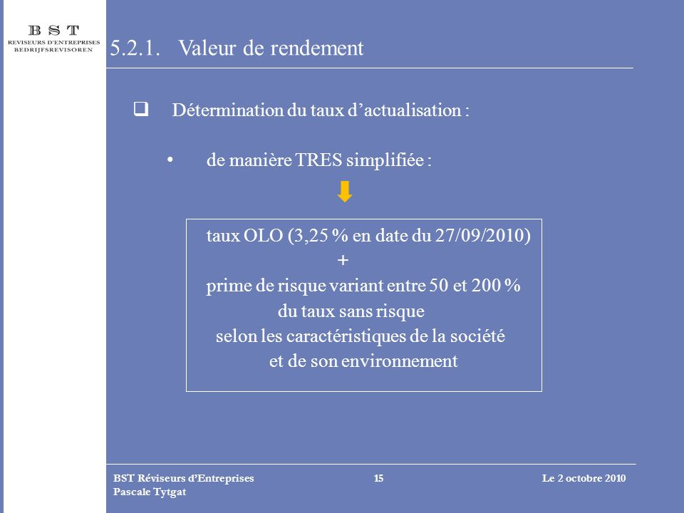 Le 2 octobre 2010BST Réviseurs dEntreprises Pascale Tytgat 15 5.2.1. Valeur de rendement Détermination du taux dactualisation : de manière TRES simpli
