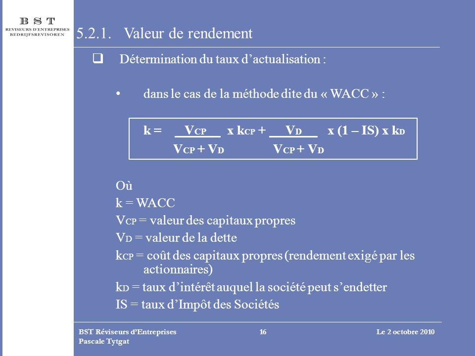 Le 2 octobre 2010BST Réviseurs dEntreprises Pascale Tytgat 16 5.2.1. Valeur de rendement Détermination du taux dactualisation : dans le cas de la méth