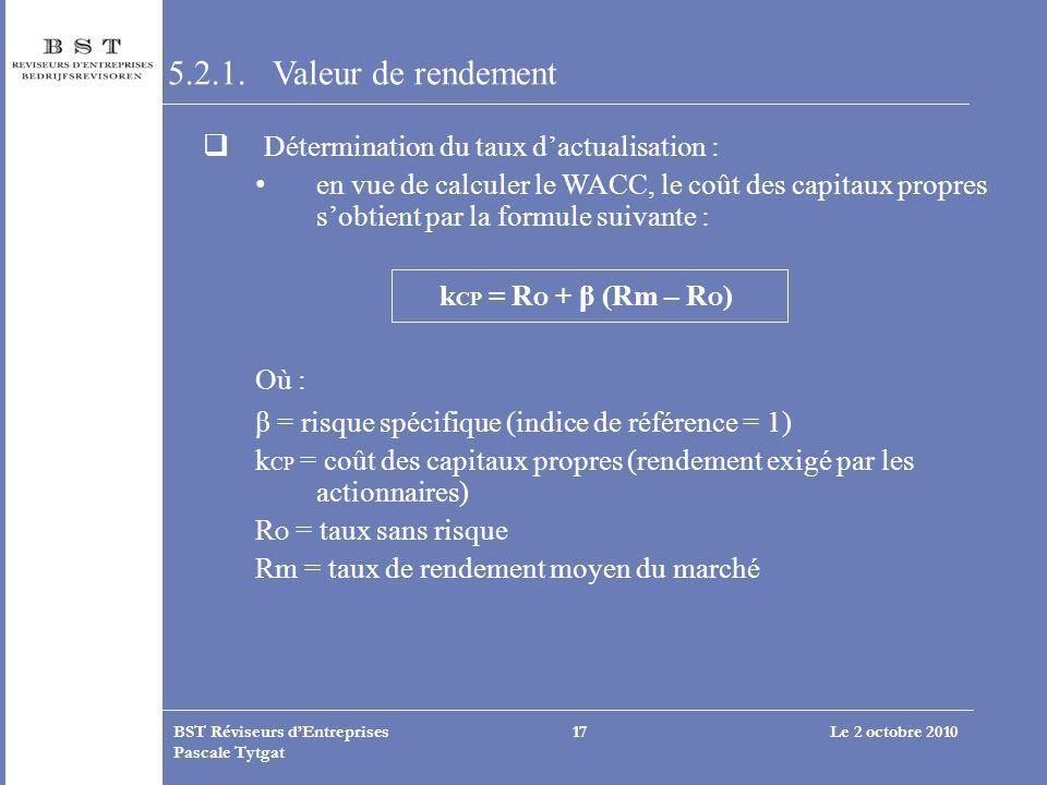 Le 2 octobre 2010BST Réviseurs dEntreprises Pascale Tytgat 17 5.2.1. Valeur de rendement Détermination du taux dactualisation : en vue de calculer le