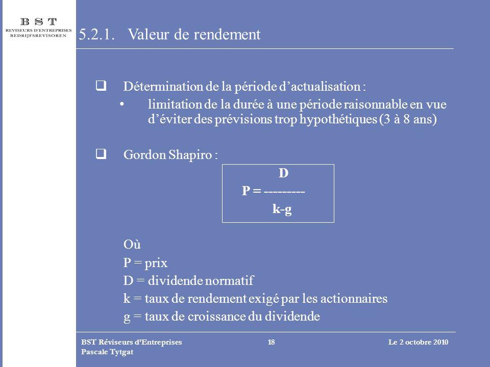 Le 2 octobre 2010BST Réviseurs dEntreprises Pascale Tytgat 18 5.2.1. Valeur de rendement Détermination de la période dactualisation : limitation de la