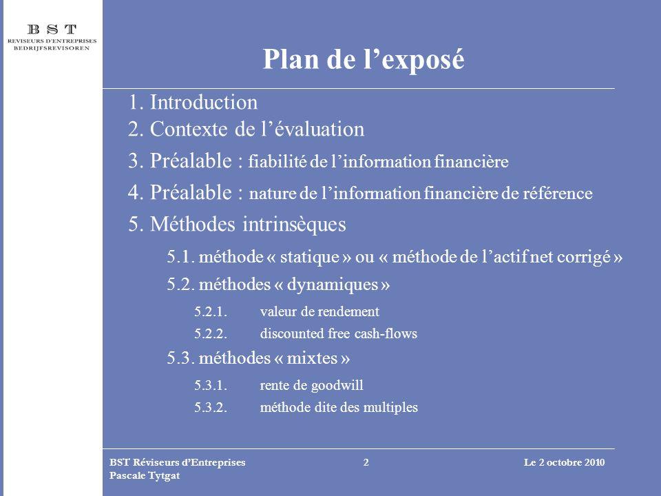 Le 2 octobre 2010BST Réviseurs dEntreprises Pascale Tytgat 2 Plan de lexposé 1. Introduction 2. Contexte de lévaluation 3. Préalable : fiabilité de li