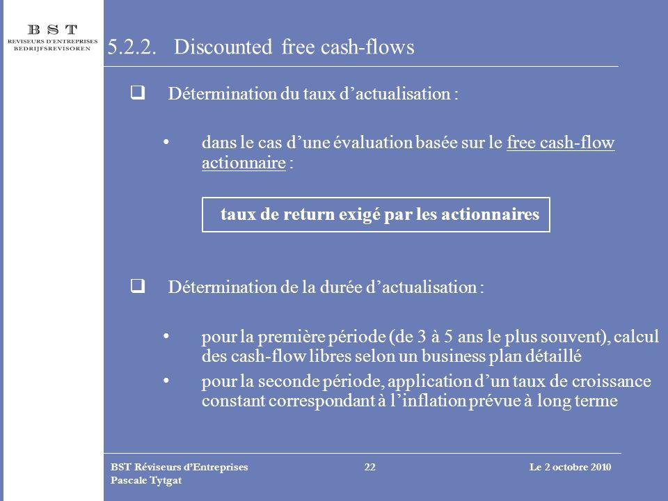 Le 2 octobre 2010BST Réviseurs dEntreprises Pascale Tytgat 22 5.2.2. Discounted free cash-flows Détermination du taux dactualisation : dans le cas dun