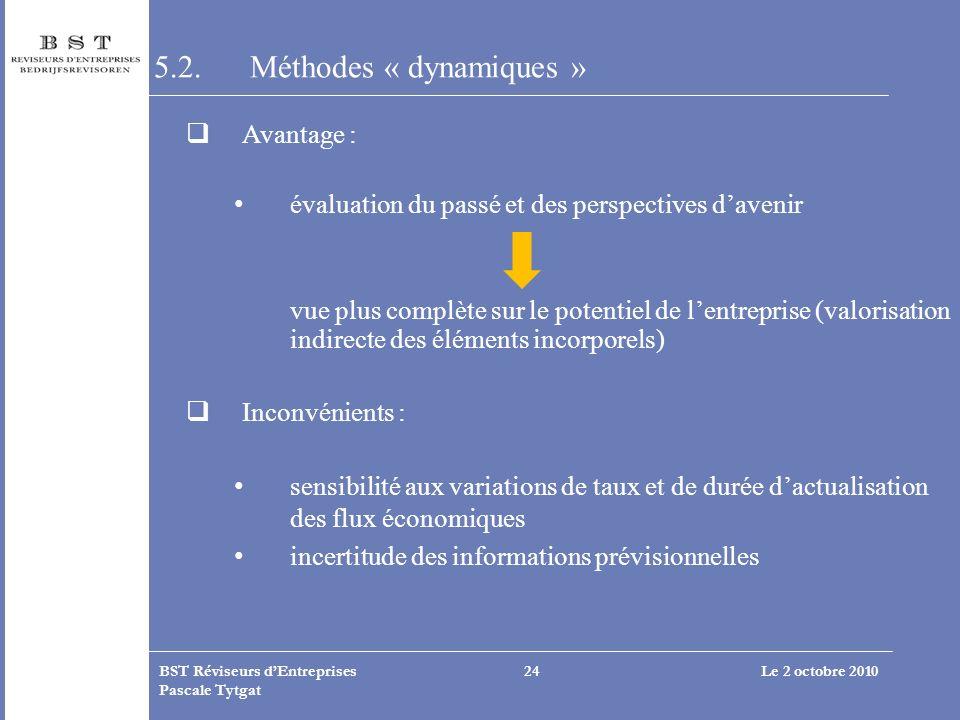 Le 2 octobre 2010BST Réviseurs dEntreprises Pascale Tytgat 24 5.2. Méthodes « dynamiques » Avantage : évaluation du passé et des perspectives davenir