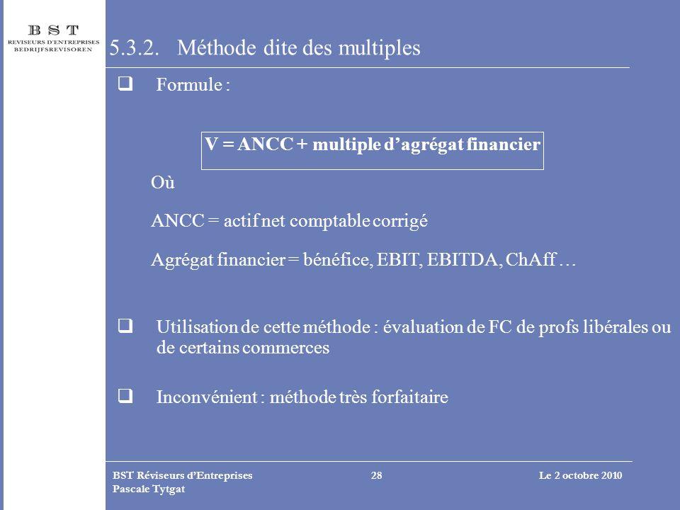 Le 2 octobre 2010BST Réviseurs dEntreprises Pascale Tytgat 28 5.3.2. Méthode dite des multiples Formule : V = ANCC + multiple dagrégat financier Où AN
