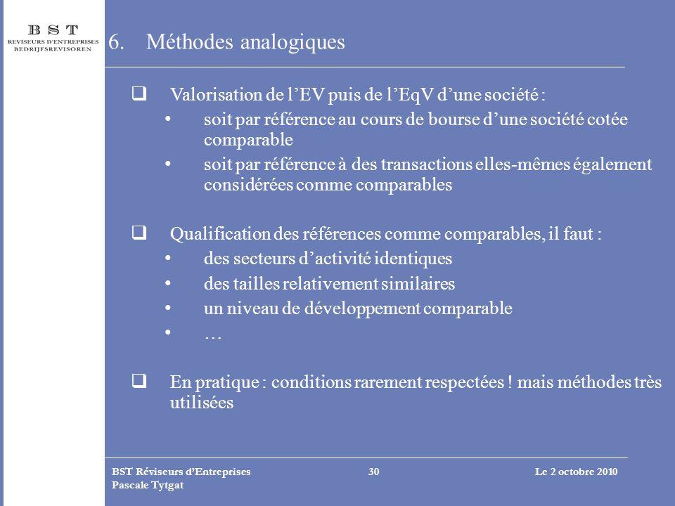 Le 2 octobre 2010BST Réviseurs dEntreprises Pascale Tytgat 30 6.Méthodes analogiques Valorisation de lEV puis de lEqV dune société : soit par référenc