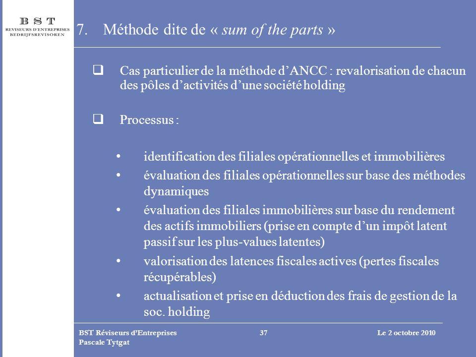 Le 2 octobre 2010BST Réviseurs dEntreprises Pascale Tytgat 37 7.Méthode dite de « sum of the parts » Cas particulier de la méthode dANCC : revalorisat