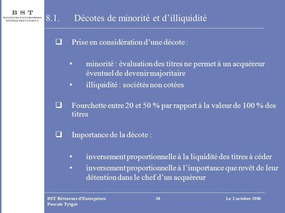Le 2 octobre 2010BST Réviseurs dEntreprises Pascale Tytgat 38 8.1.Décotes de minorité et dilliquidité Prise en considération dune décote : minorité :