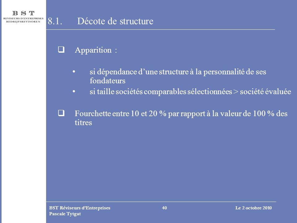 Le 2 octobre 2010BST Réviseurs dEntreprises Pascale Tytgat 40 8.1.Décote de structure Apparition : si dépendance dune structure à la personnalité de s