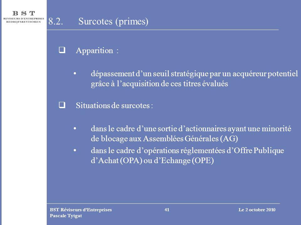 Le 2 octobre 2010BST Réviseurs dEntreprises Pascale Tytgat 41 8.2.Surcotes (primes) Apparition : dépassement dun seuil stratégique par un acquéreur po